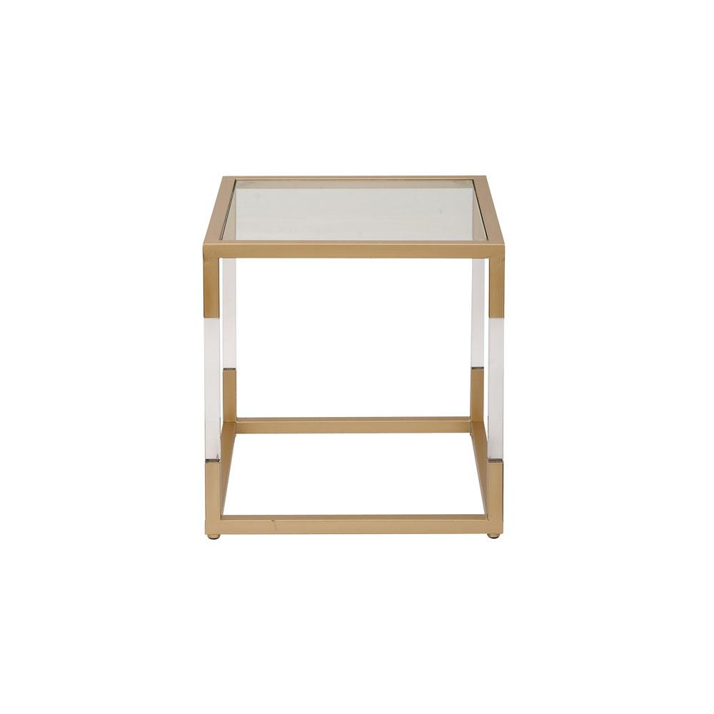 Charming Litton Lane Modern Gold And Transparent Side Table