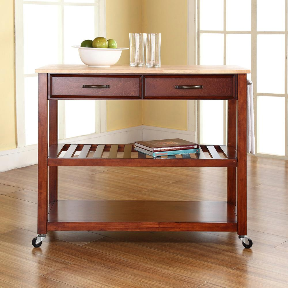 UPC 710244286053 Product Image For Crosley Kitchen Islands 42 In. Natural  Wood Top Kitchen Island ...