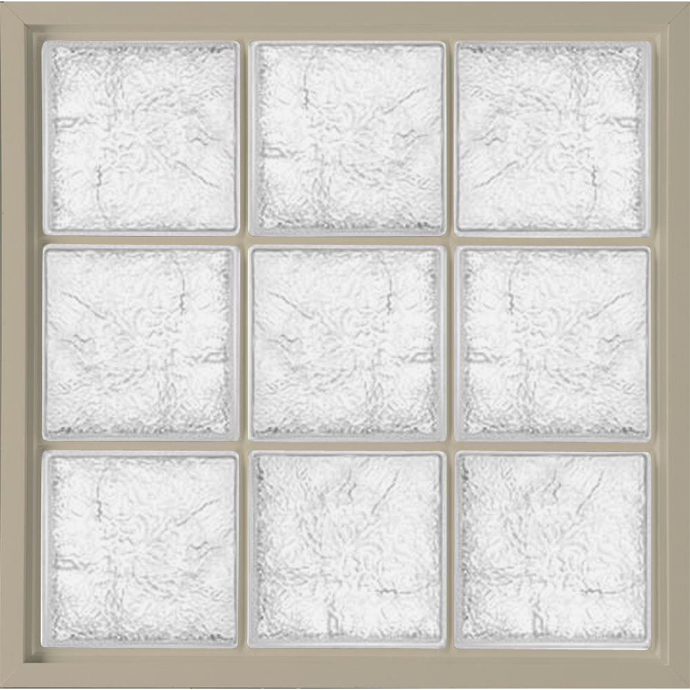 Hy-Lite 46.75 in. x 46.75 in. Glass Block Fixed Vinyl Windows Ice ...