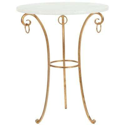 Tamara White and Gold End Table