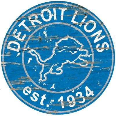 "24"" NFL Detroit Lions Round Distressed Sign"