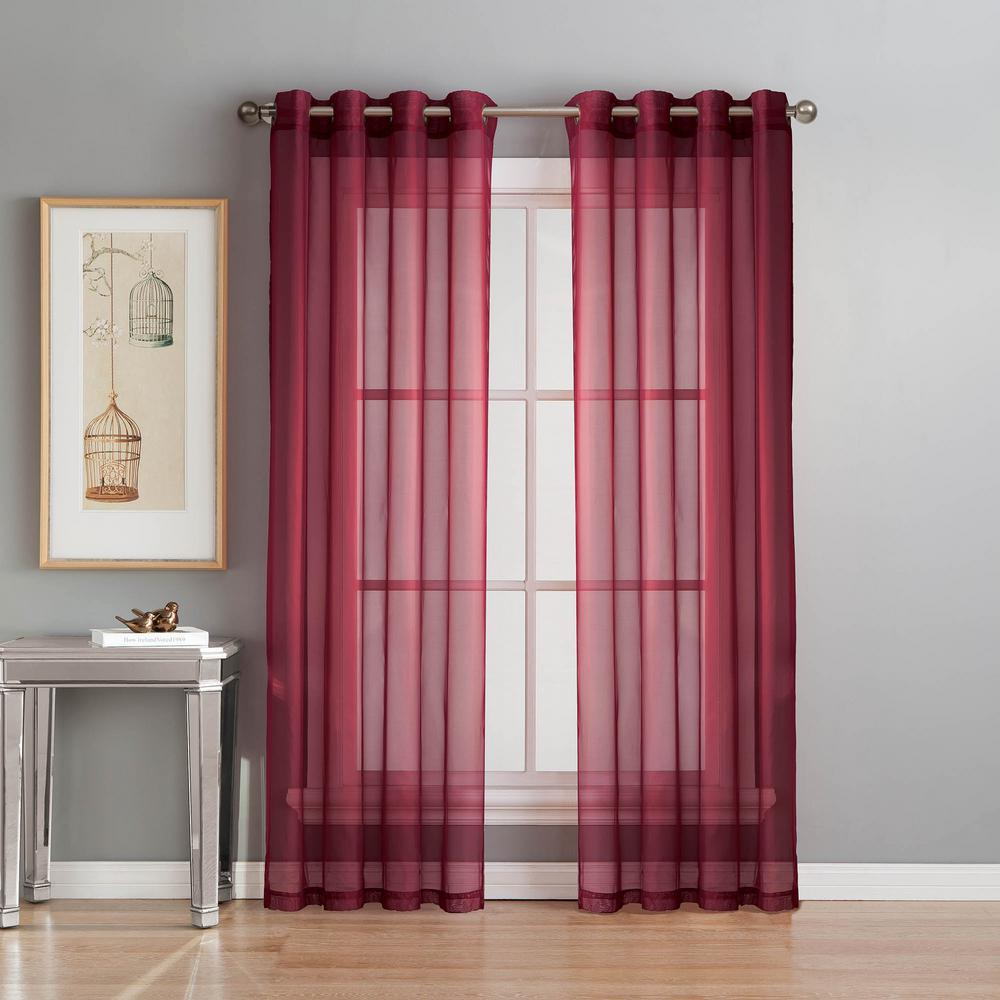 Window Elements Sheer Diamond Sheer Voile Burgundy Grommet Extra Wide Curtain Panel, 56 in. W x 90 in. L
