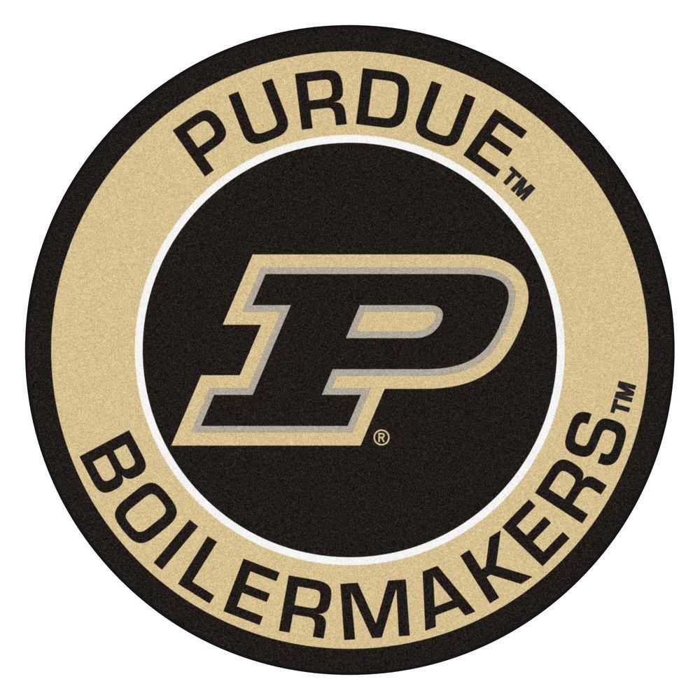 Fanmats Ncaa Purdue University Suede 2 Ft X 2 Ft Round Area Rug