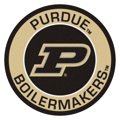 NCAA Purdue University Suede 2 ft. x 2 ft. Round Area Rug