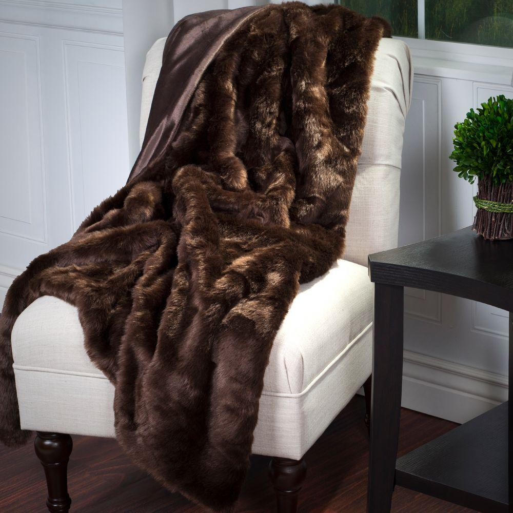 Brown Luxury Long Haired Faux Fur Throw