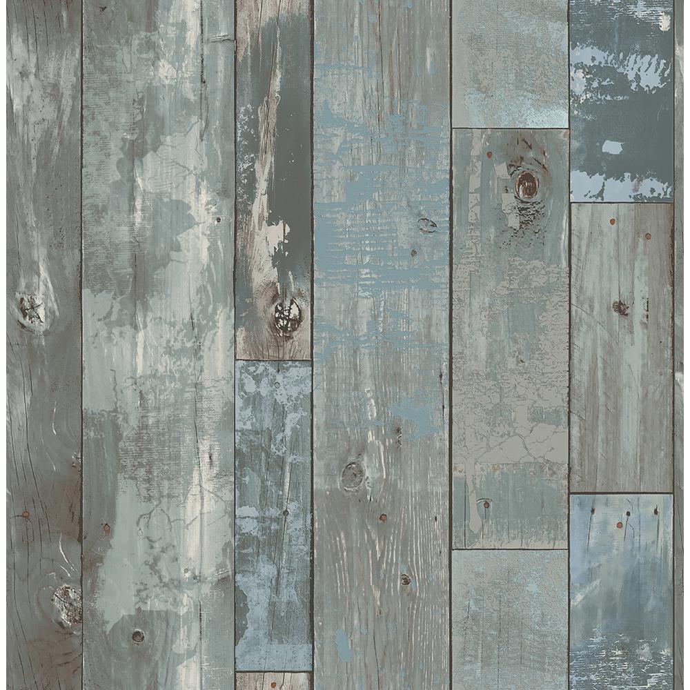 Deena Blue Distressed Wood Wallpaper