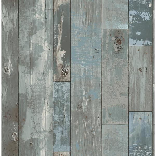 Deena Blue Distressed Wood Wallpaper Sample
