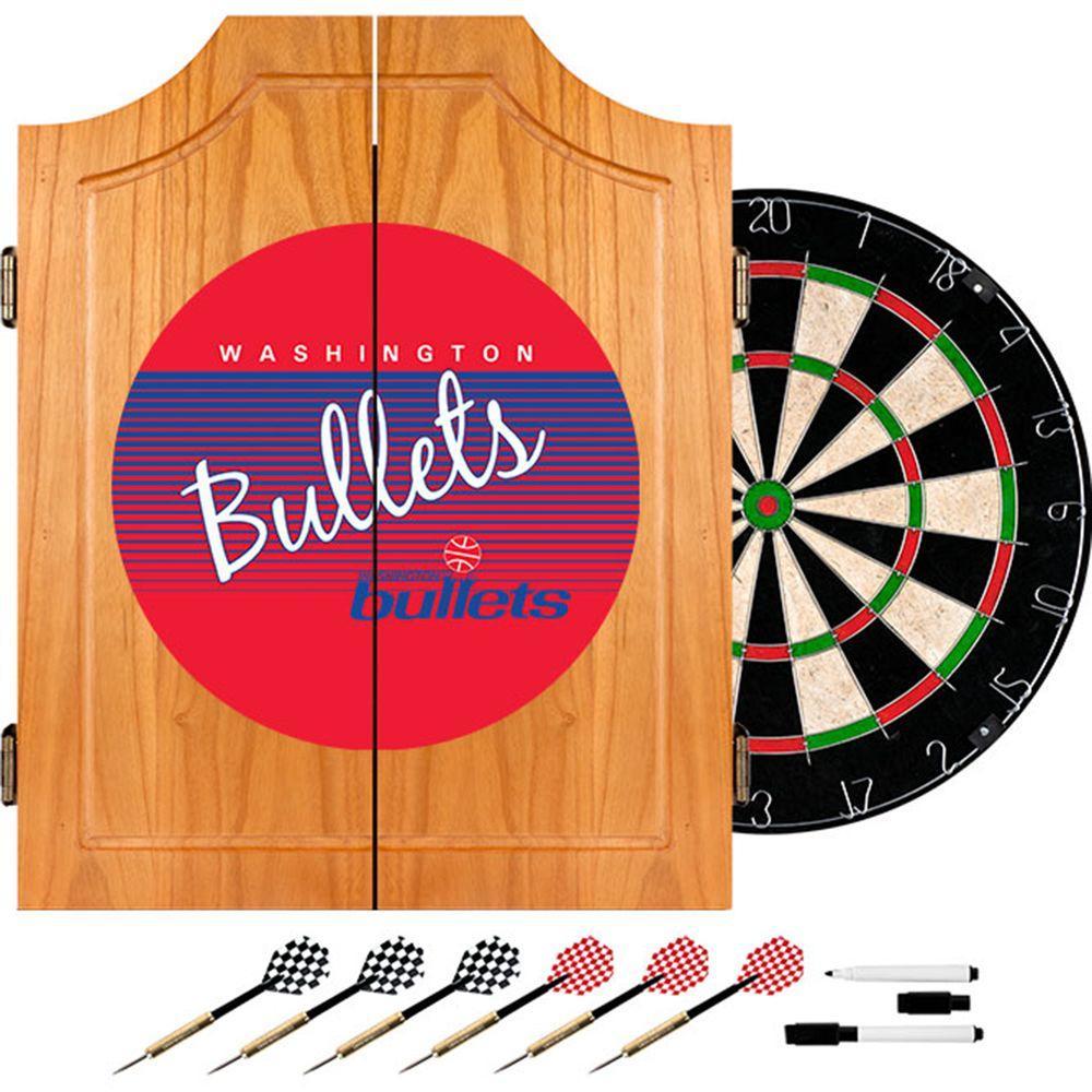 Trademark 20.5 in. Washington Bullets Hardwood Classics NBA Wood Dart Cabinet Set