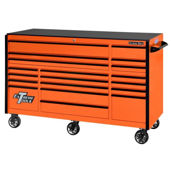 Extreme Tools Rx 72 In 19 Drawer Roller Cabinet Tool Chest In Orange With Black Handles And Trim Rx722519rcorbk X The Home Depot