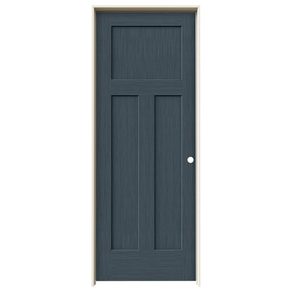 Jeld Wen 32 In X 80 In Craftsman Denim Stain Left Hand Solid Core Molded Composite Mdf Single