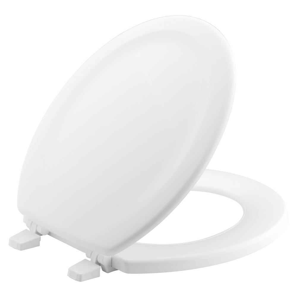 soft close wooden toilet seat hinges. KOHLER Stonewood Round Closed Front Toilet Seat with Quick Release Hinges  in White