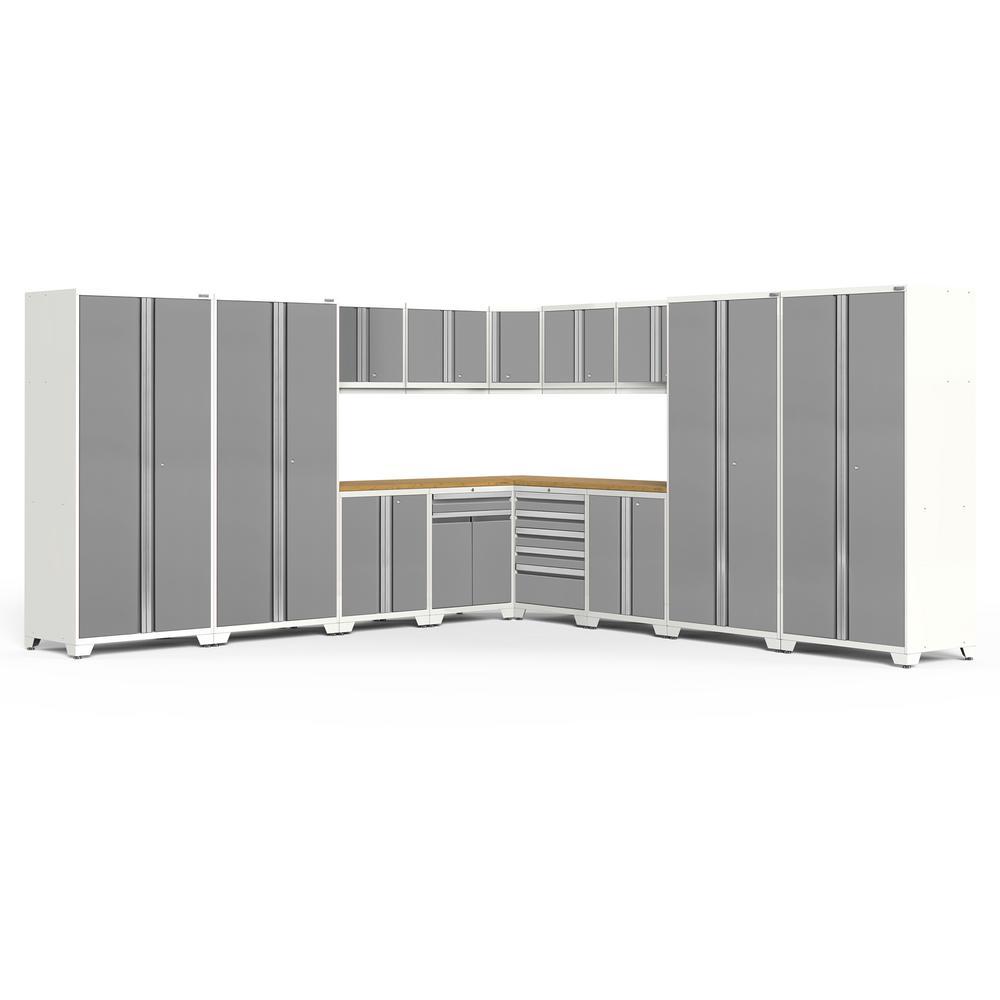 NewAge Products Pro Series 3.0 304 in. W x 85.25 in. H x 24 in. D 18-Gauge Welded Steel Garage Cabinet Set in Platinum (16-Piece)