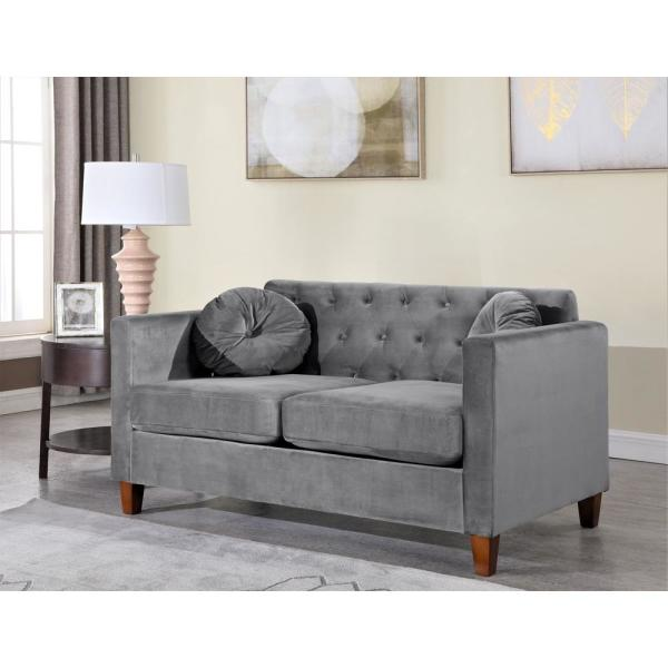 Us Pride Furniture Lory Kitts 55 In Gray Velvet 2 Seater Chesterfield Loveseat With Square Arms S5539 L The Home Depot