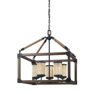 Dunning 22 in. W. 5-Light Weathered Gray and Distressed Oak Single Tier Chandelier