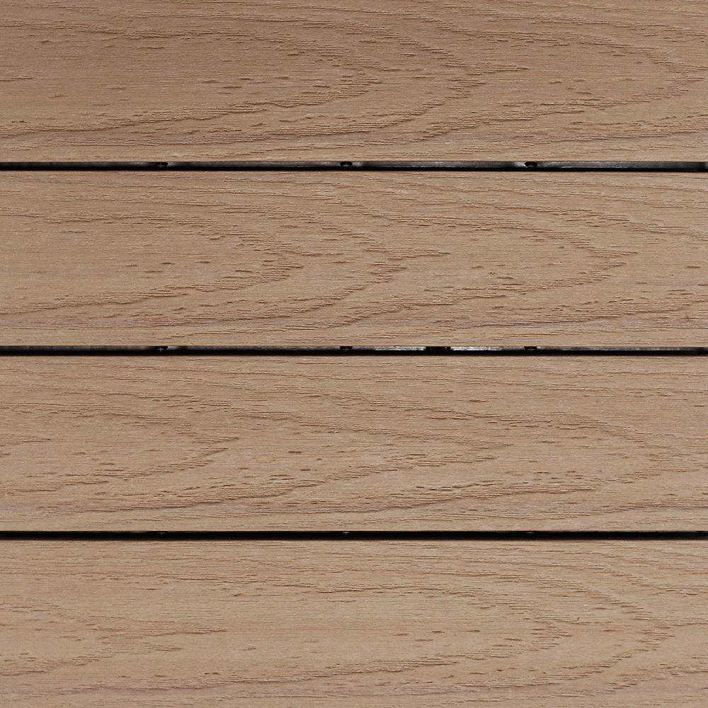 NewTechWood UltraShield Naturale 1 ft. x 1 ft. Quick Deck Outdoor Composite Deck Tile Sample in Canadian Maple