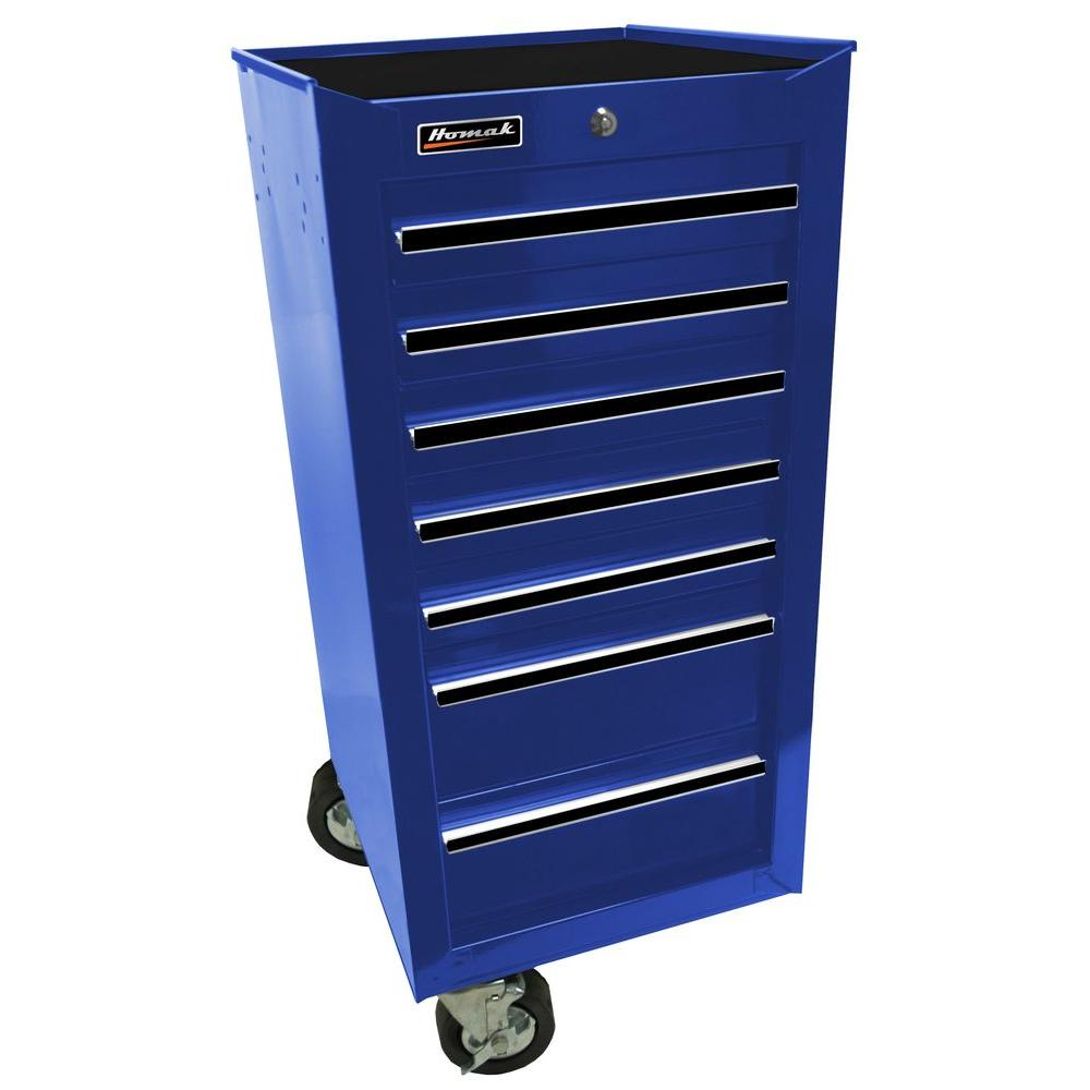Homak Professional 17 in. 7-Drawer Side Cabinet, Blue