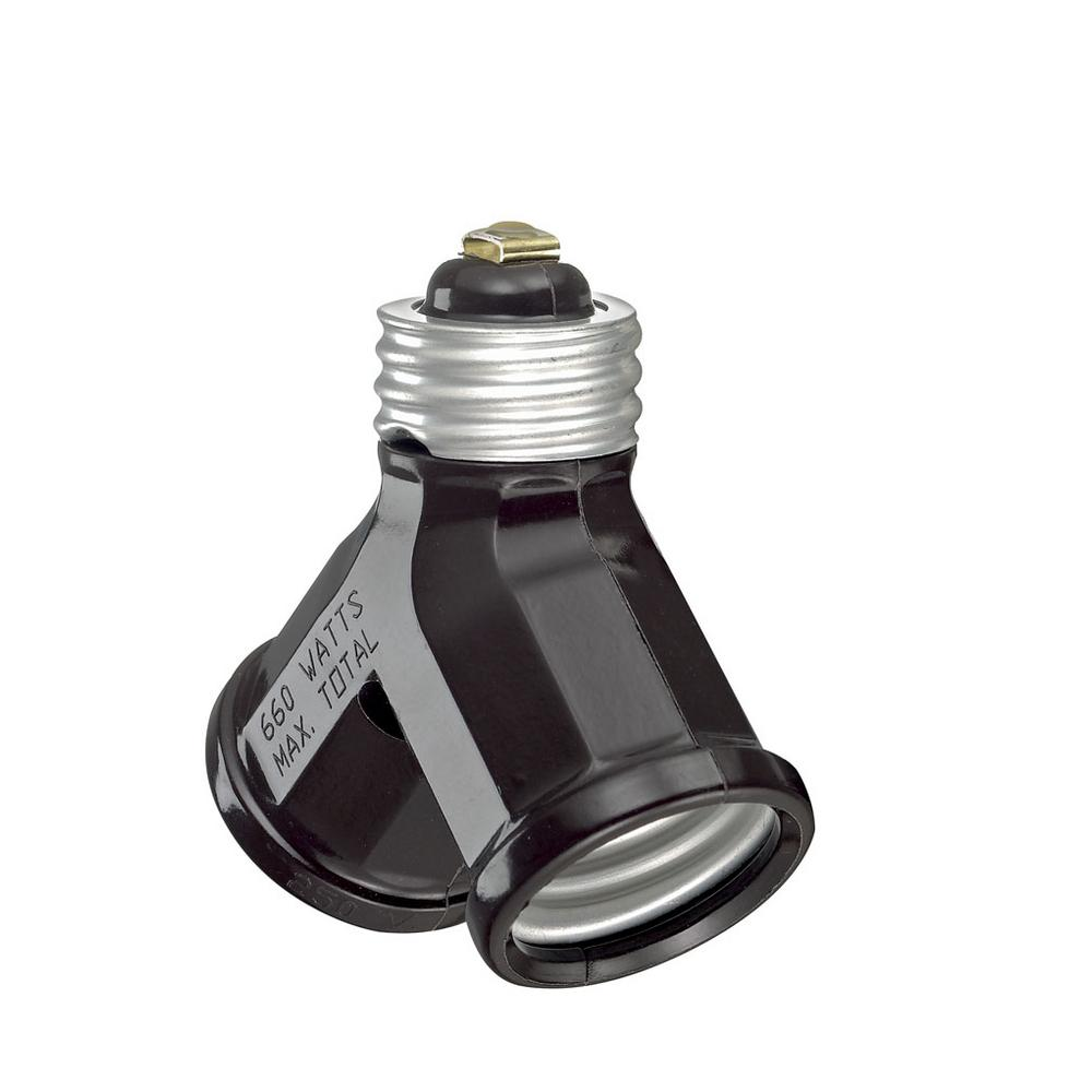 660-Watt Double Light Socket Adapter, Brown
