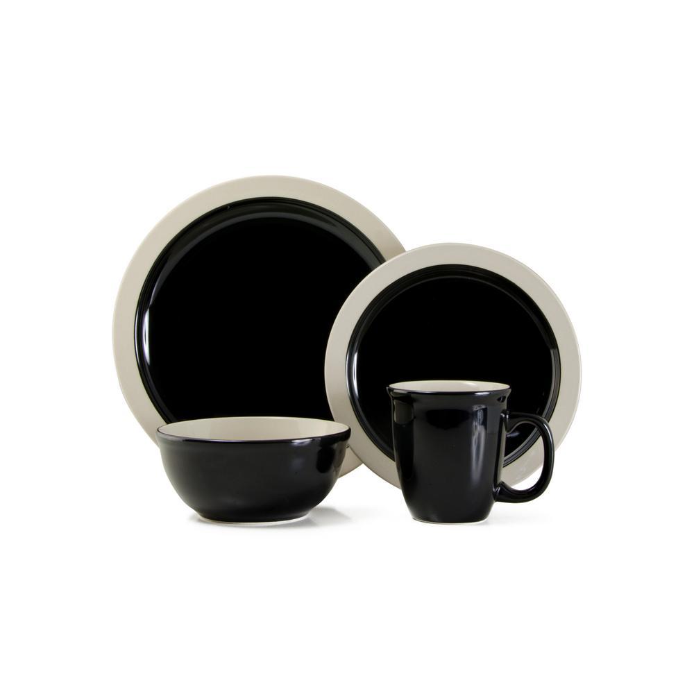 Urban 16-Piece Casual Black Ceramic Dinnerware Set (Service for 4)
