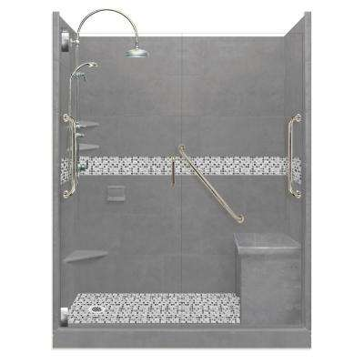 Del Mar Freedom Luxe Hinged 32 in. x 60 in. x 80 in. Left Drain Alcove Shower Kit in Wet Cement and Chrome Hardware