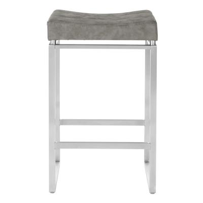 Sherese Counter Stool 26 in. Retro Grey Stainless Steel Base (Set of 2)