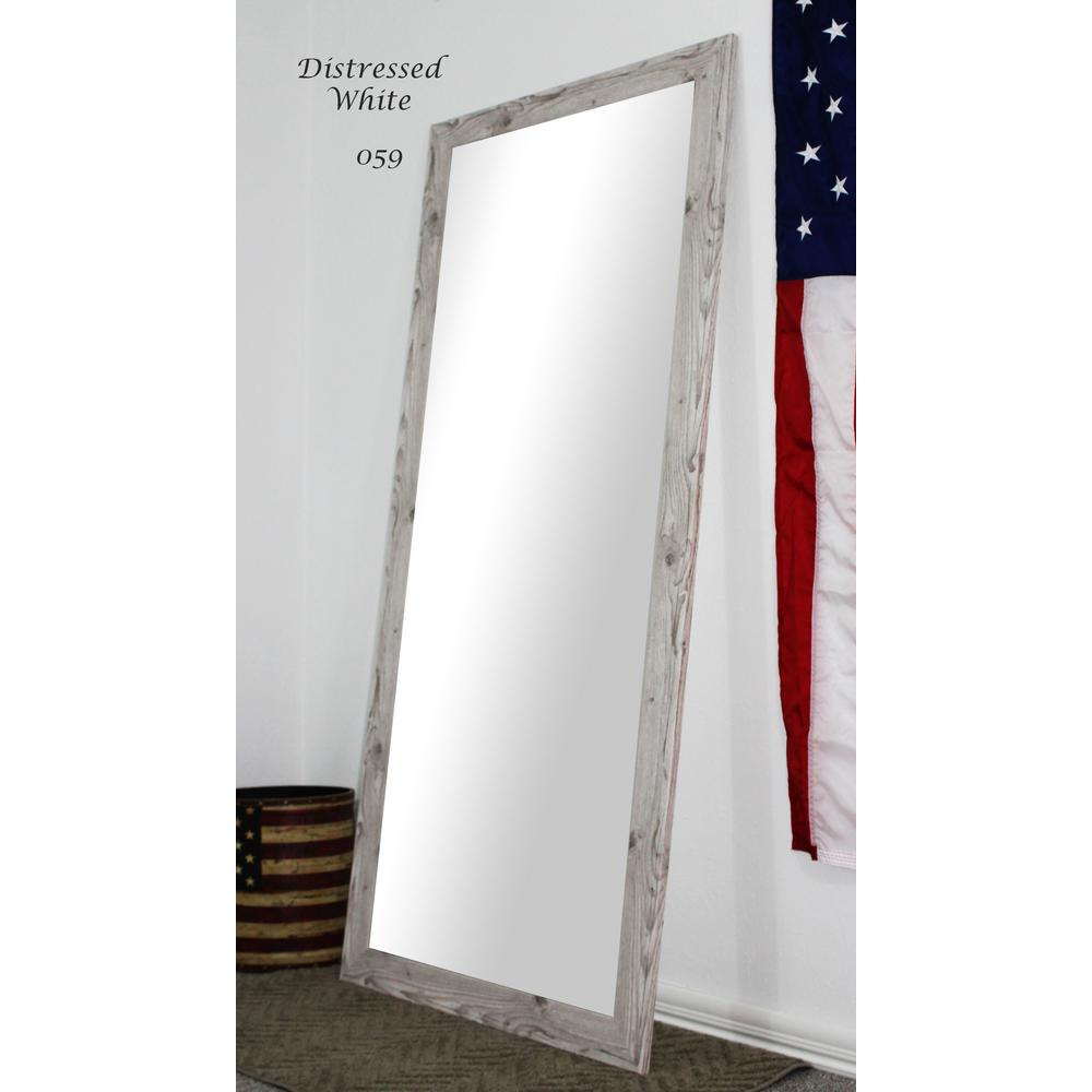 65 5 in x 30 5 in distressed white full body and floor for Floor length vanity mirror