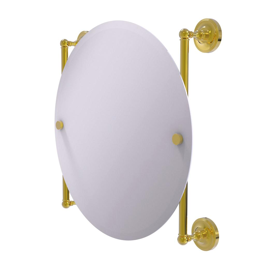 Prestige Regal Collection Round Frameless Rail Mounted Mirror in Polished Brass