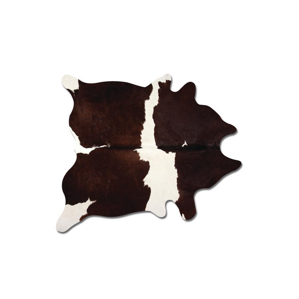 Kobe Chocolate and White 6 ft. x 7 ft. Cowhide Rug