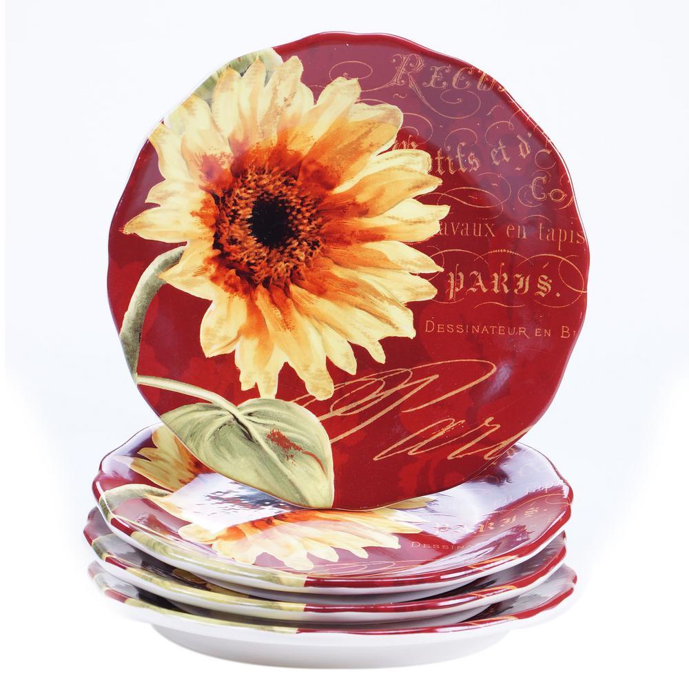 Paris Sunflower 8.75 Salad and Dessert Plate (Set of 4)