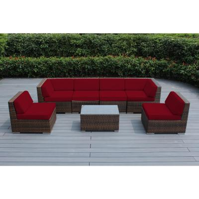 Ohana Depot Ohana Mixed Brown 7 Piece Wicker Patio Seating Set With Supercrylic Red Cushions Pn7037mb R The Home Depot