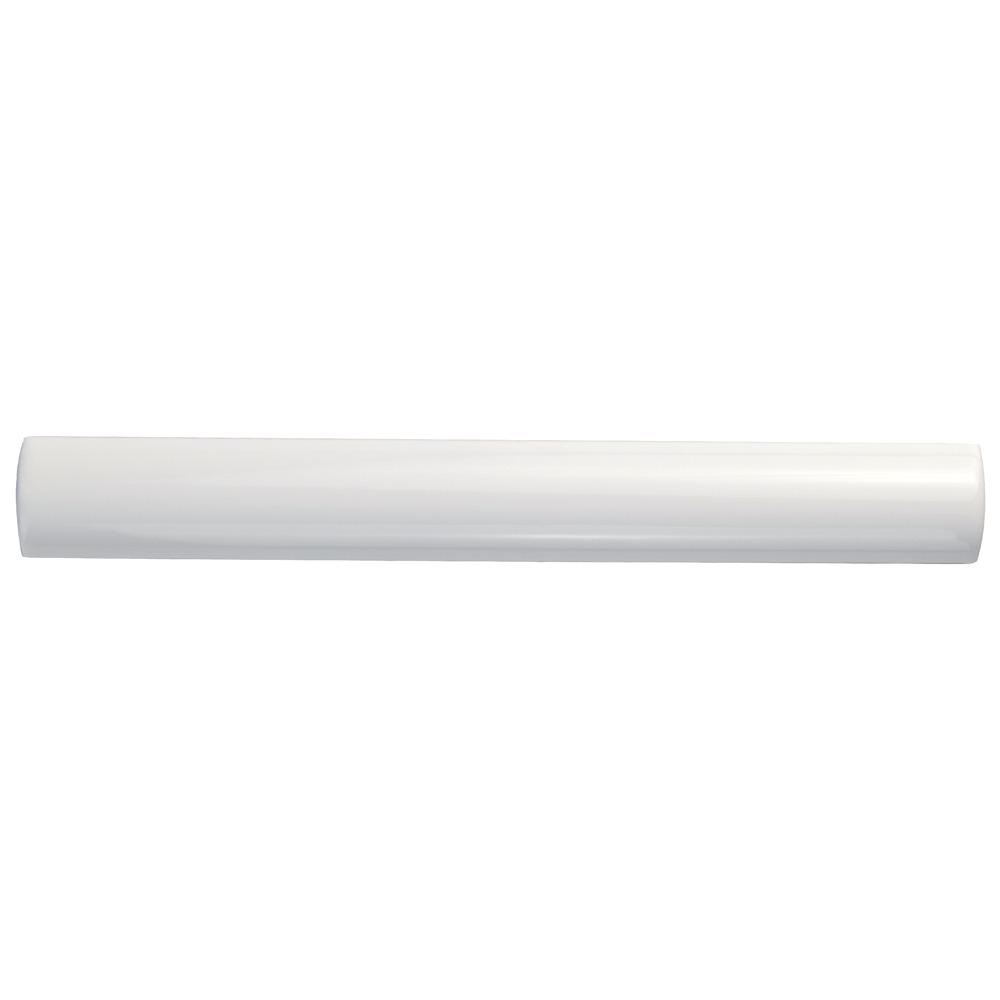 Merola Tile Bordon Blanco Moldura 1 in. x 7-7/8 in. Ceramic Pencil Wall Trim Tile