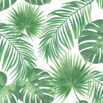 Patti Light Green Leaves Paper Strippable Wallpaper (Covers 56.4 sq. ft.)