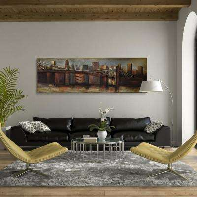 """22 in. X 27 in. """"Bridge to the City 1"""" Mixed Media Iron Hand Painted Dimensional Wall Art"""