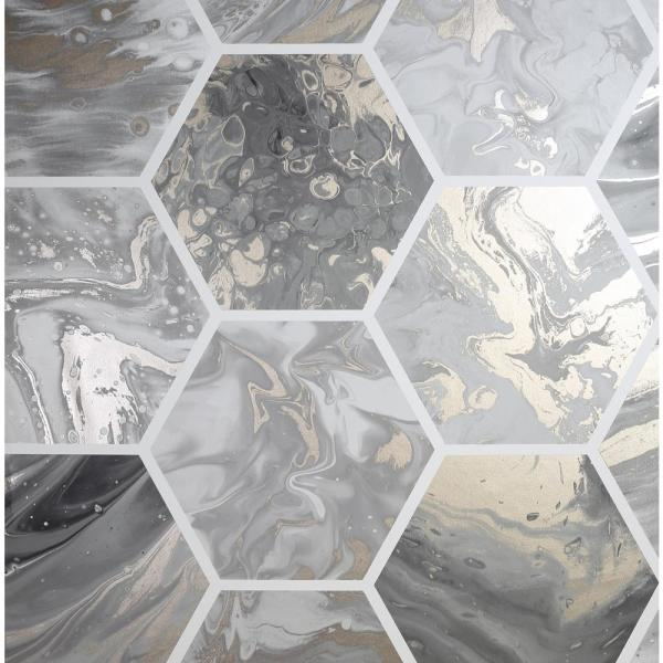 Arthouse Marbled Hex Charcoal And Rose Gold Wallpaper 908502 The Home Depot