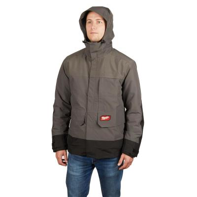 Men's X-Large M12 12-Volt Lithium-Ion Cordless Heated Quilted Jacket Kit W/Gray Rainshell (1)2.0Ah Battery&Charger