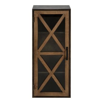 Mace 8 in. x 12 in. x 30 in. Rustic Brown/Black Metal and Wood Decorative Cubby Wall Shelf