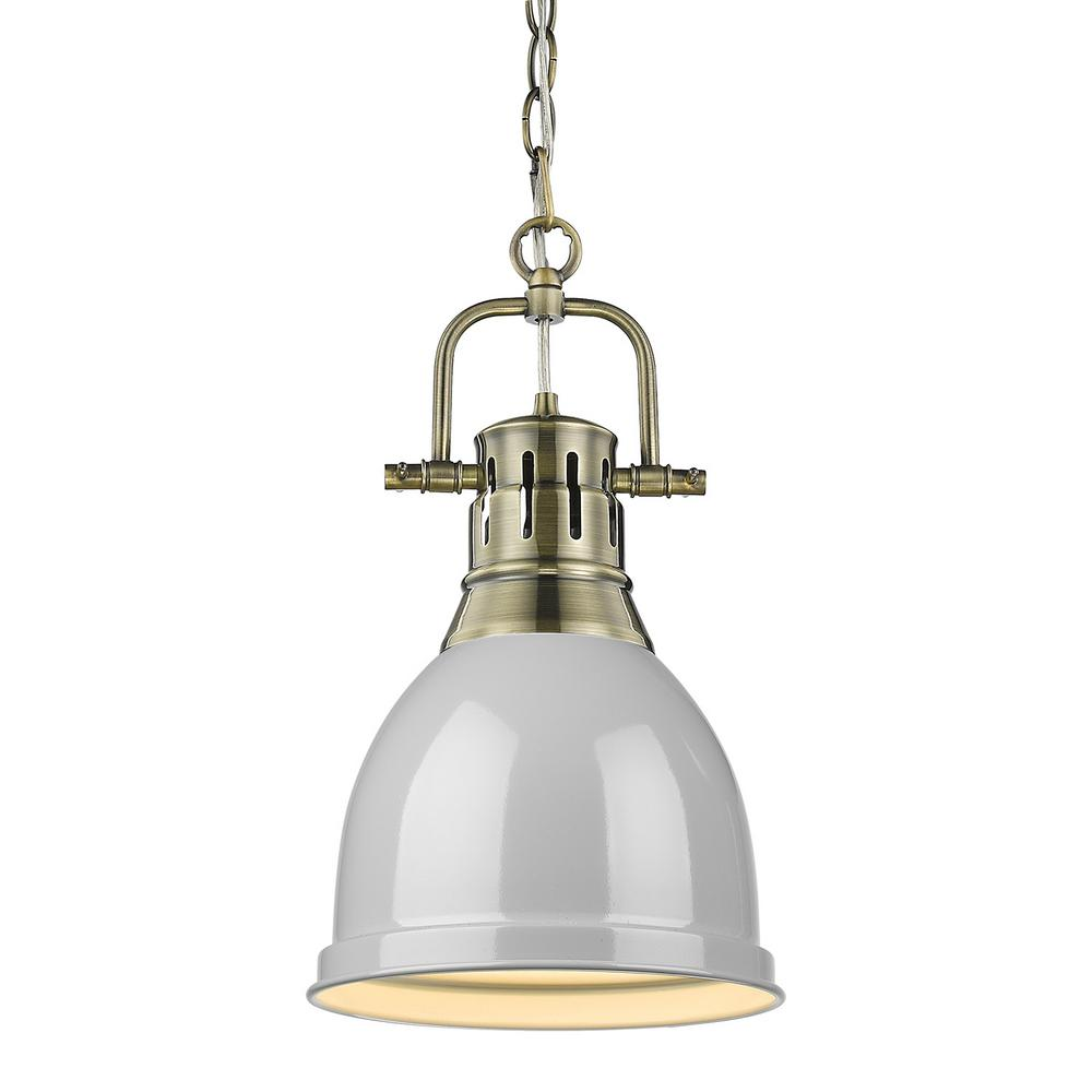 Golden Lighting Duncan 1 Light Aged Br Pendant And Chain With Gray Shade