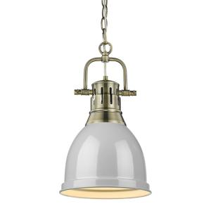 Duncan 1-Light Aged Brass Pendant and Chain with Gray Shade