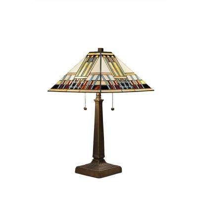 Tiffany Style Blue Mission 23 in. Bronze Table Lamp