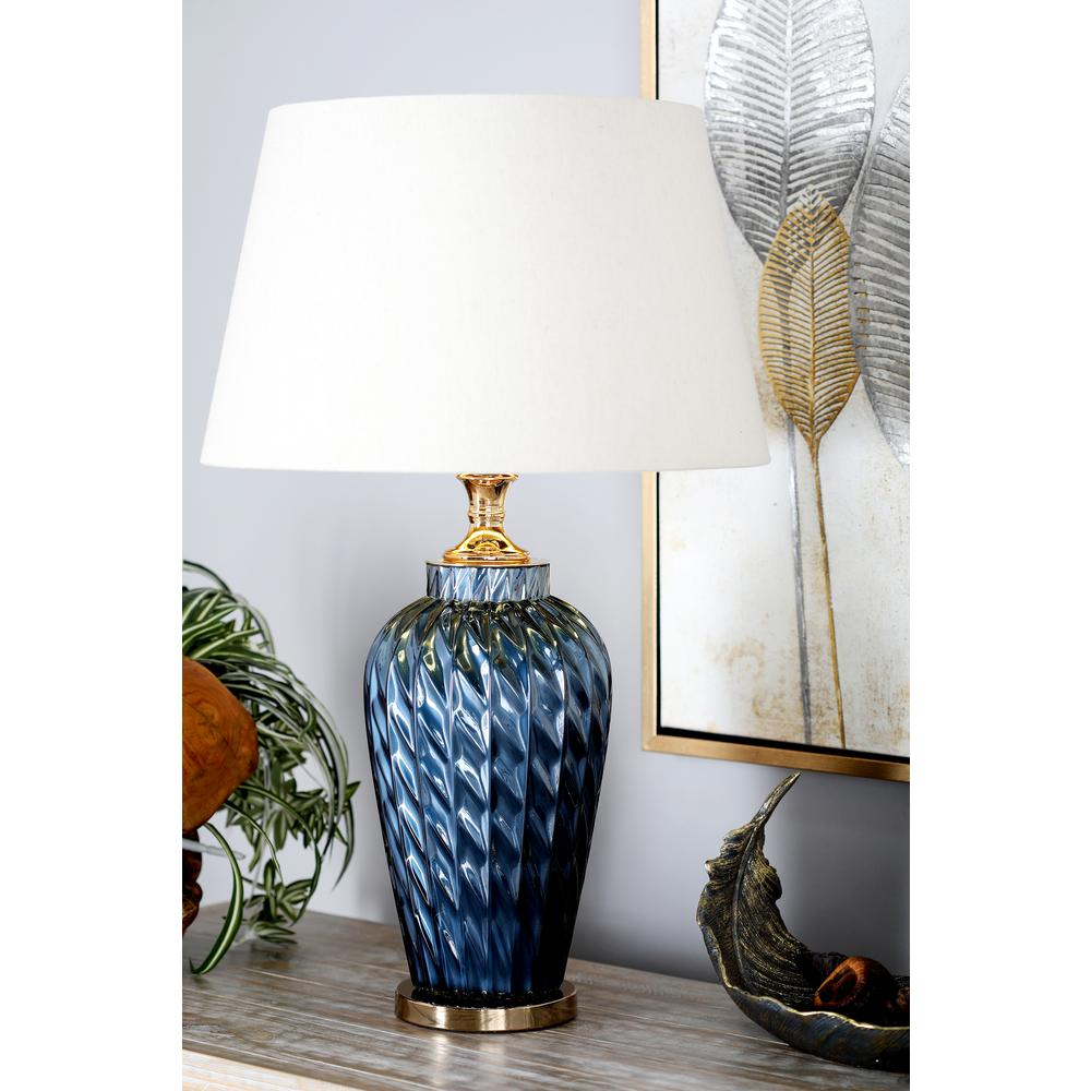 Litton Lane 29 In Blue Urn Shaped Table Lamp With Gold Accents And