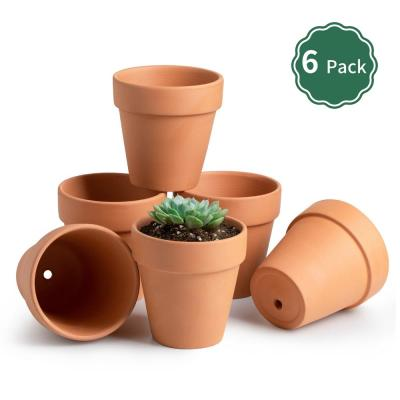 4.1 in. Terracotta Plant Pot Set with Drain Hole