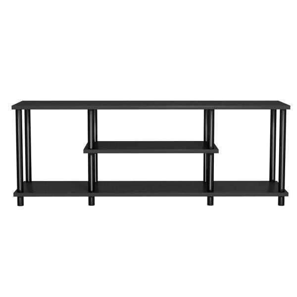 NEW TV Stand Black Home Entertainment Media Storage Cabinet Center Shelves 48 in