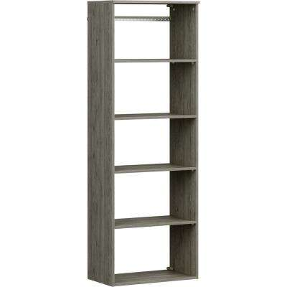 Style+ 25 in. W Coastal Teak Hanging Wood Closet Tower