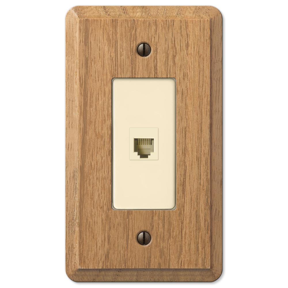 Contemporary 1 Gang Phone Wood Wall Plate - Light Oak