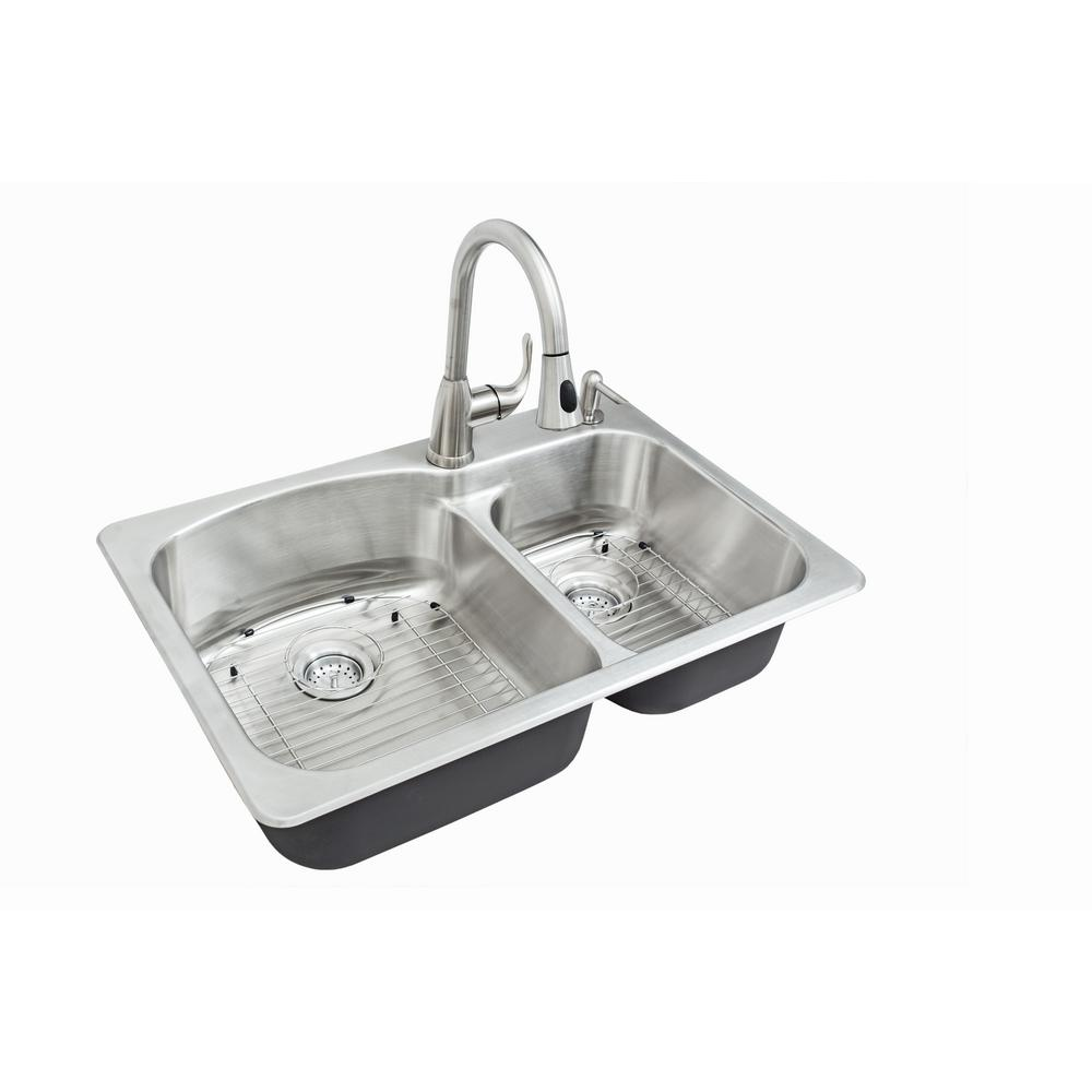 All-in-One Dual Mount Stainless Steel 33 in. 2-Hole Double Bowl Kitchen Sink Kit with Faucet