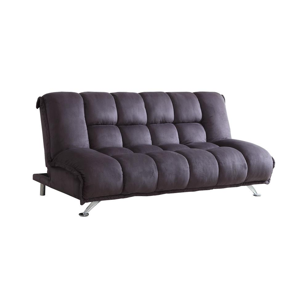 Purple Grey Microfiber Futon Sofa