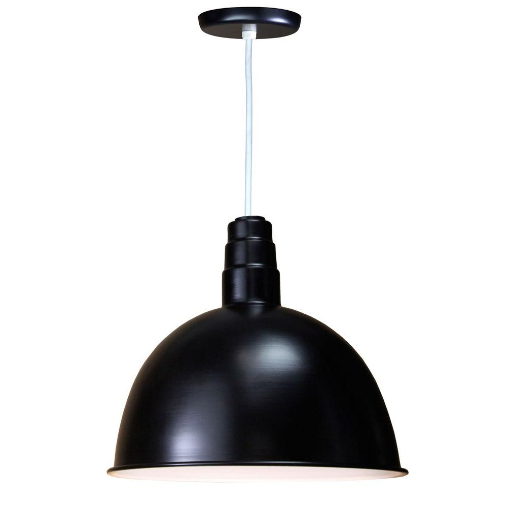 1-Light Outdoor Hanging Black Deep Bowl Pendant