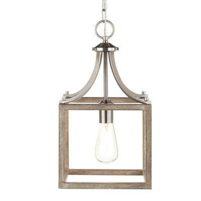 Boswell Quarter Collection 1-Light Brushed Nickel Mini Pendant with Painted Weathered Gray Wood Accents
