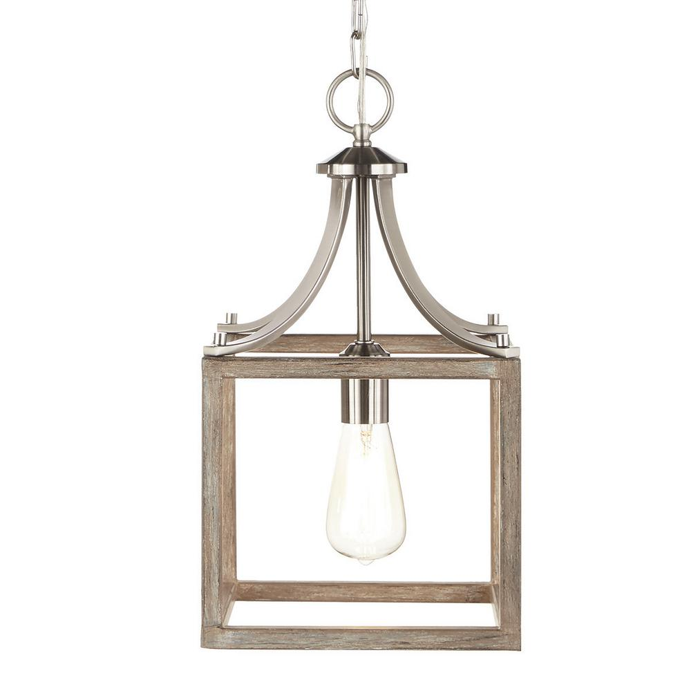 Home Decorators Collection Boswell Quarter 9 44 In 1 Light Brushed Nickel Kitchen Island Mini Pendant With Painted Weathered Gray Wood Accents