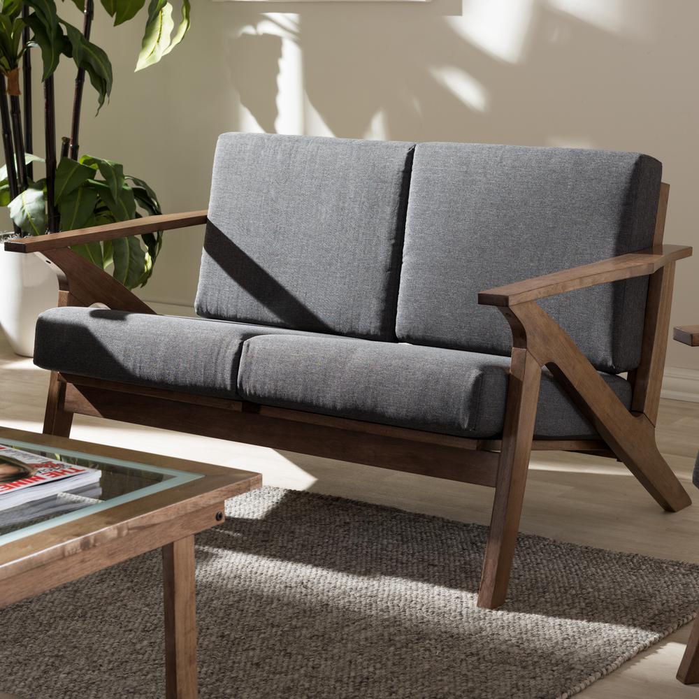 Cayla Mid-Century Gray Fabric Upholstered Loveseat