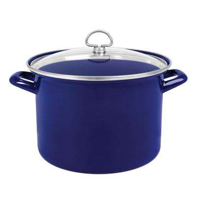 8 Qt. Enamel-On-Steel Stock Pot with Glass Lid in Cobalt Blue